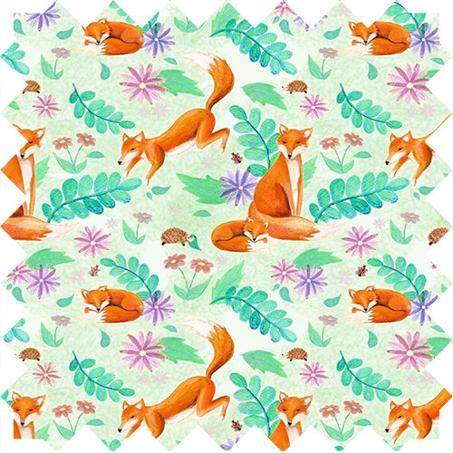 Greetings, fox pattern, design by Olivia Linn