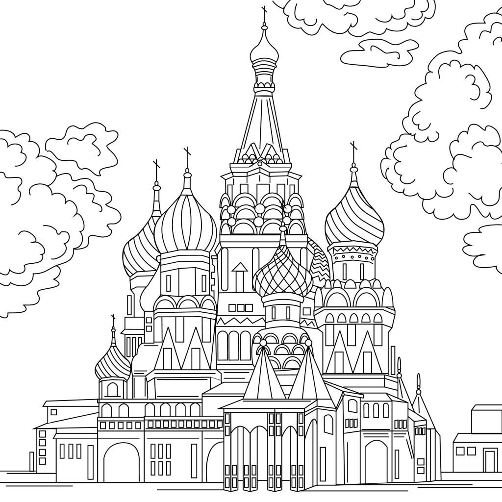 Coloring page, landmark, Russia, illustration by Olivia Linn