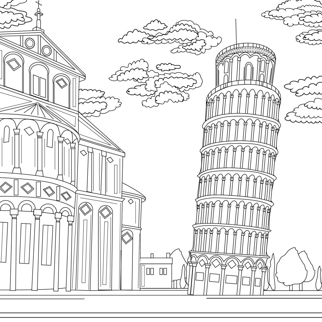 Coloring page, landmark, Pisa, illustration by Olivia Linn