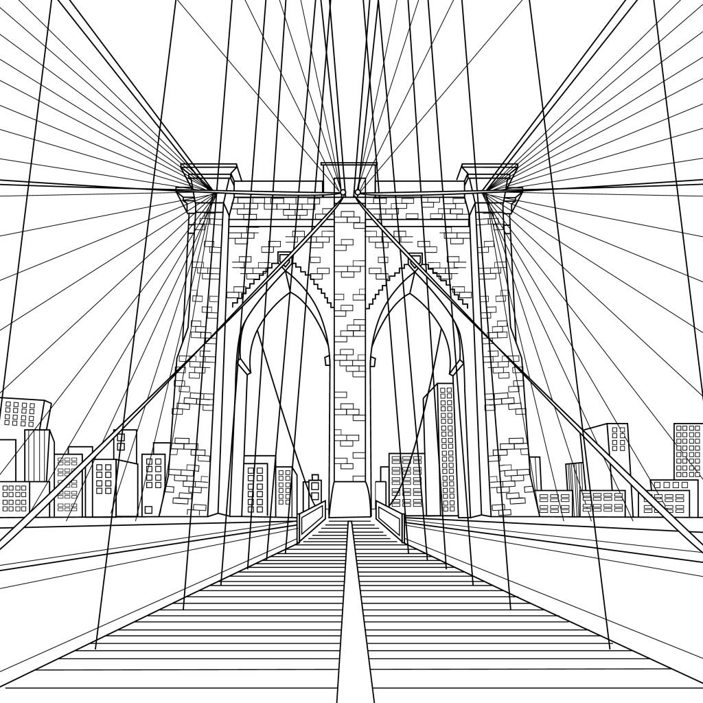 Coloring page, Brooklyn Bridge, illustration by Olivia Linn