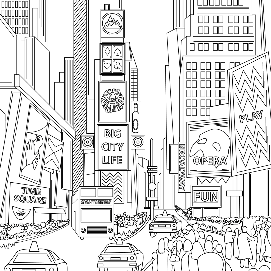 Coloring page, Time Square, illustration by Olivia Linn