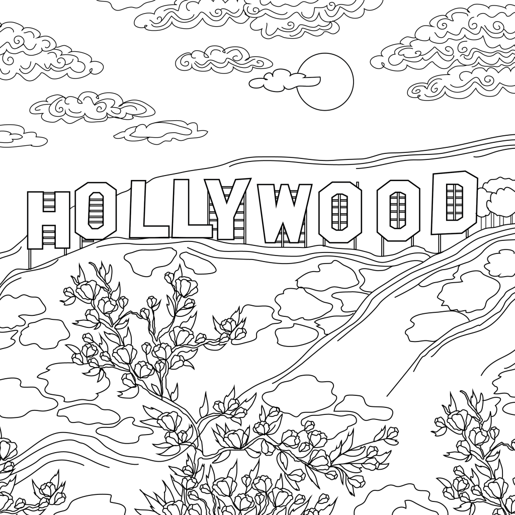 Coloring page, landmark, Hollywood, illustration by Olivia Linn