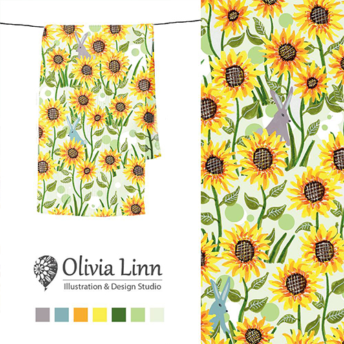 sunflower pattern for textiles, by Olivia Linn