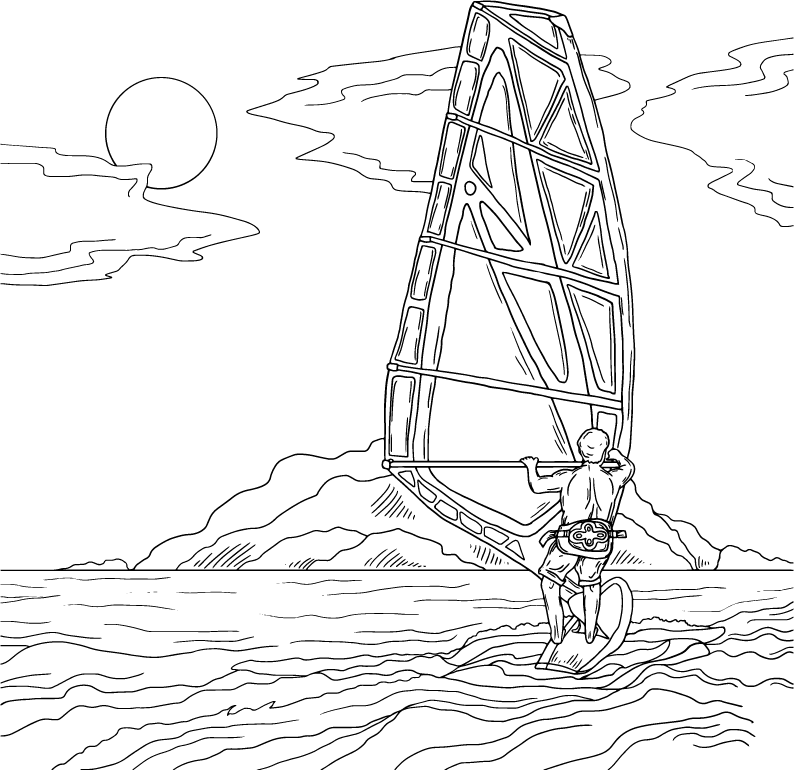 Wind surfing, coloring page by Olivia Linn
