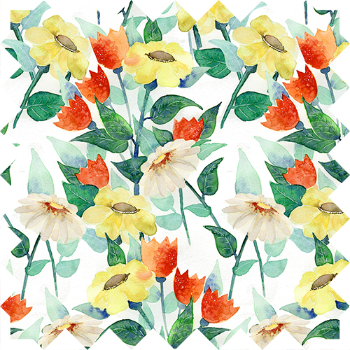 Watercolor flower pattern design by Olivia Linn