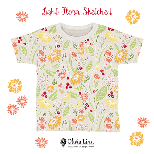 Children's t-shirt, surface pattern design, floral pattern by Olivia Linn