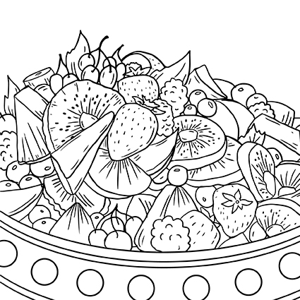 Coloring page for adults, food, by Olivia Linn