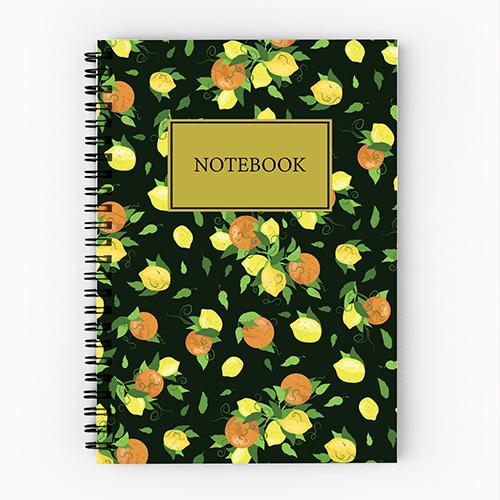 Notebook design by Olivia Linn, lemon pattern