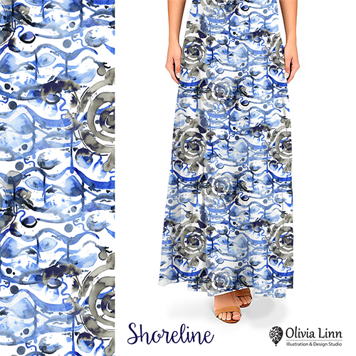 shoreline design, textile repeat, design by Olivia Linn