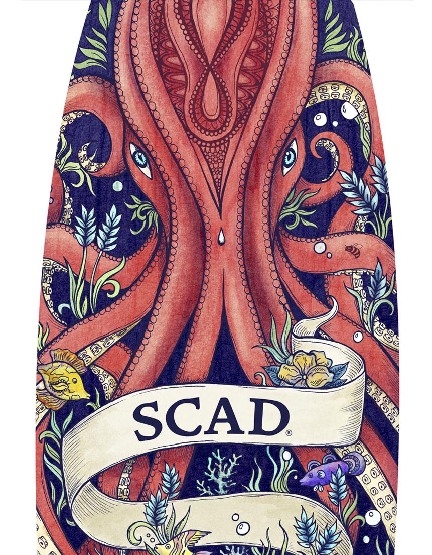 surfboard illustration, design by Olivia Linn