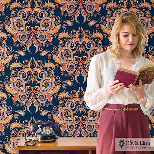Wallpaper, Vintage, decor, pattern, by Olivia Linn